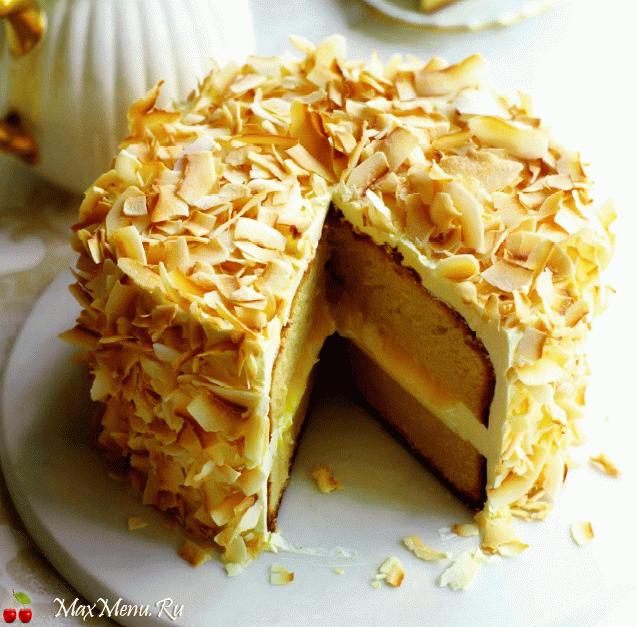 Лимонный торт с кокосом