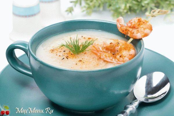 Рыбный крем-суп с нежными креветками