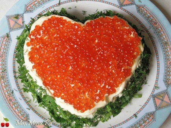 Слоеный салат «Сердце»