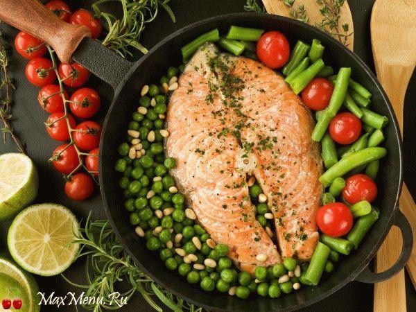 Рецепт лосося с овощами