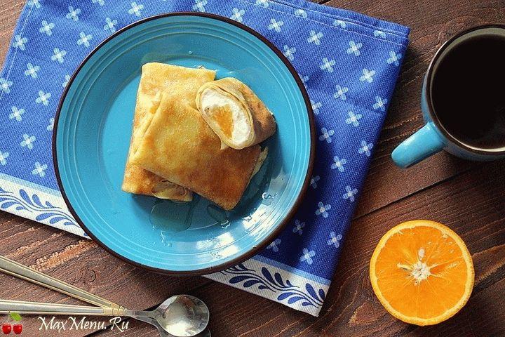Апельсиновые блинчики с творогом