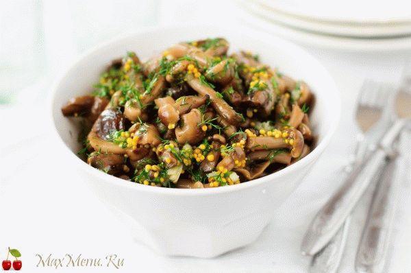 Жареные грибы в горчично-медовом маринаде