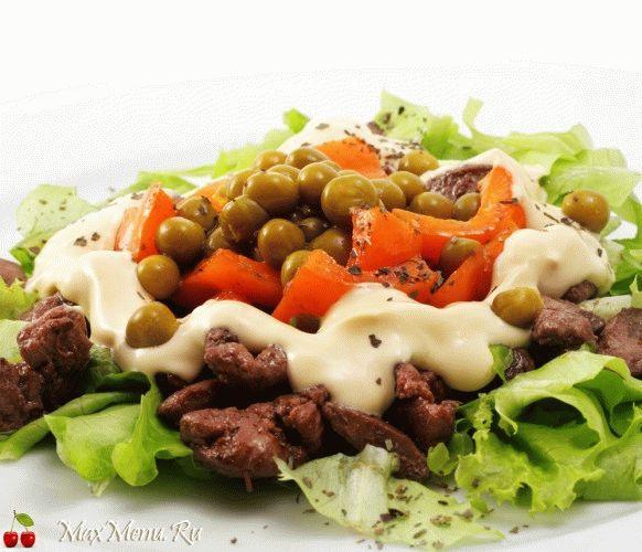 Салат из печени с зеленым горошком