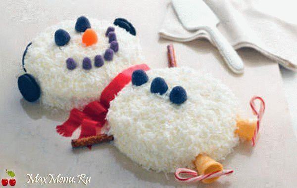 Торт «Снеговик» на Новый год