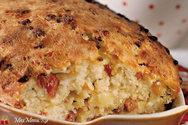 Картофельный пирог со шкварками