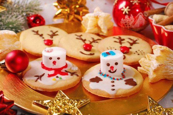 Новогоднее печенье «Тающие снеговики»
