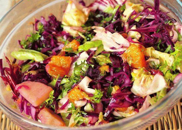 Салат из красной капусты с апельсинами