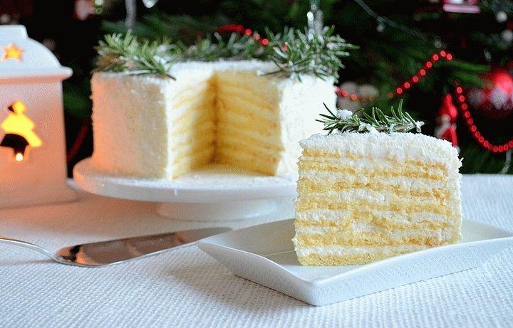 Новогодний кокосовый торт