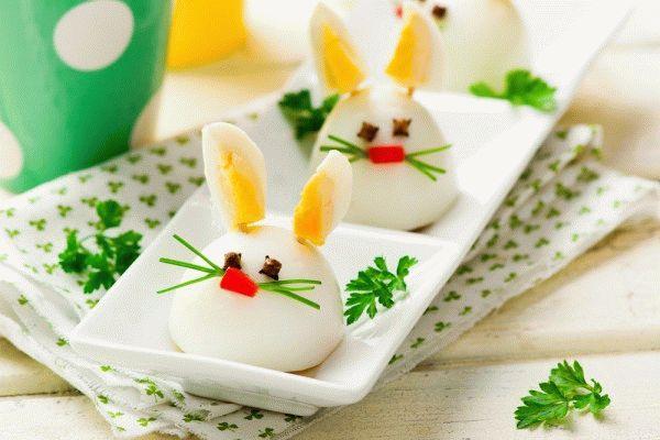 Детская Пасха: Кролики из вареных яиц