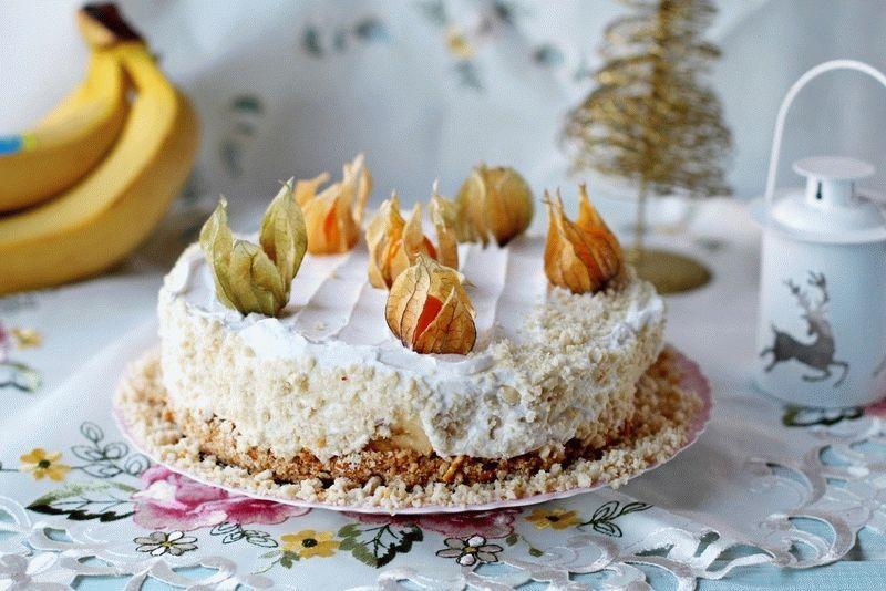 Банановый торт без выпечки