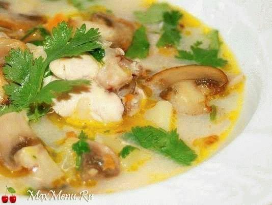 Сырно-грибной суп с курицей